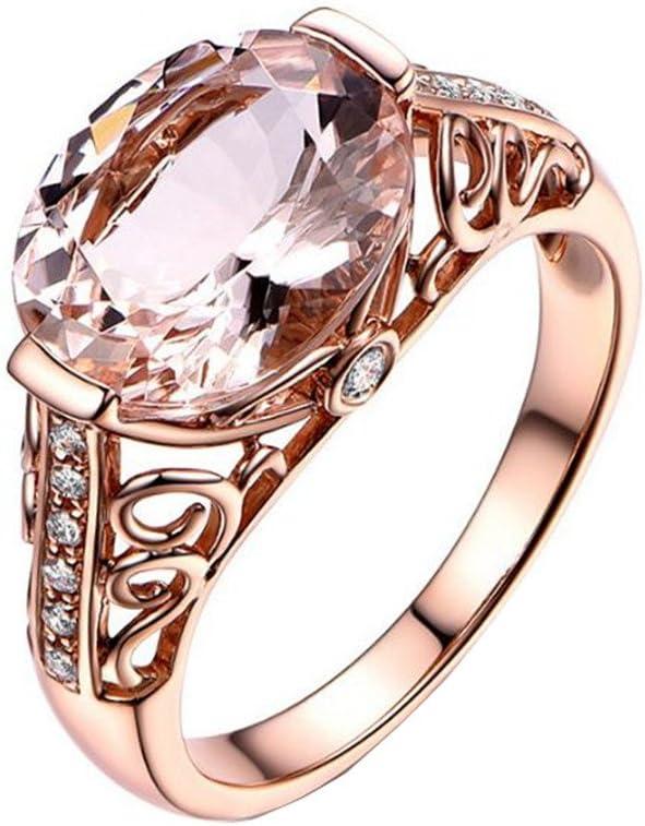 Scrox Anillo de Morganita Anillo de Piedras Preciosas Anillo de Piedras Preciosas Anillo de oro rosa 18K