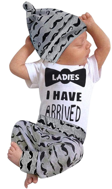 3Pcs Baby Boy Clothes Mommys New Man Print Bodysuit Summe Cotton Short Sleeve Romper Moustache Pants+Hat Outfits Set