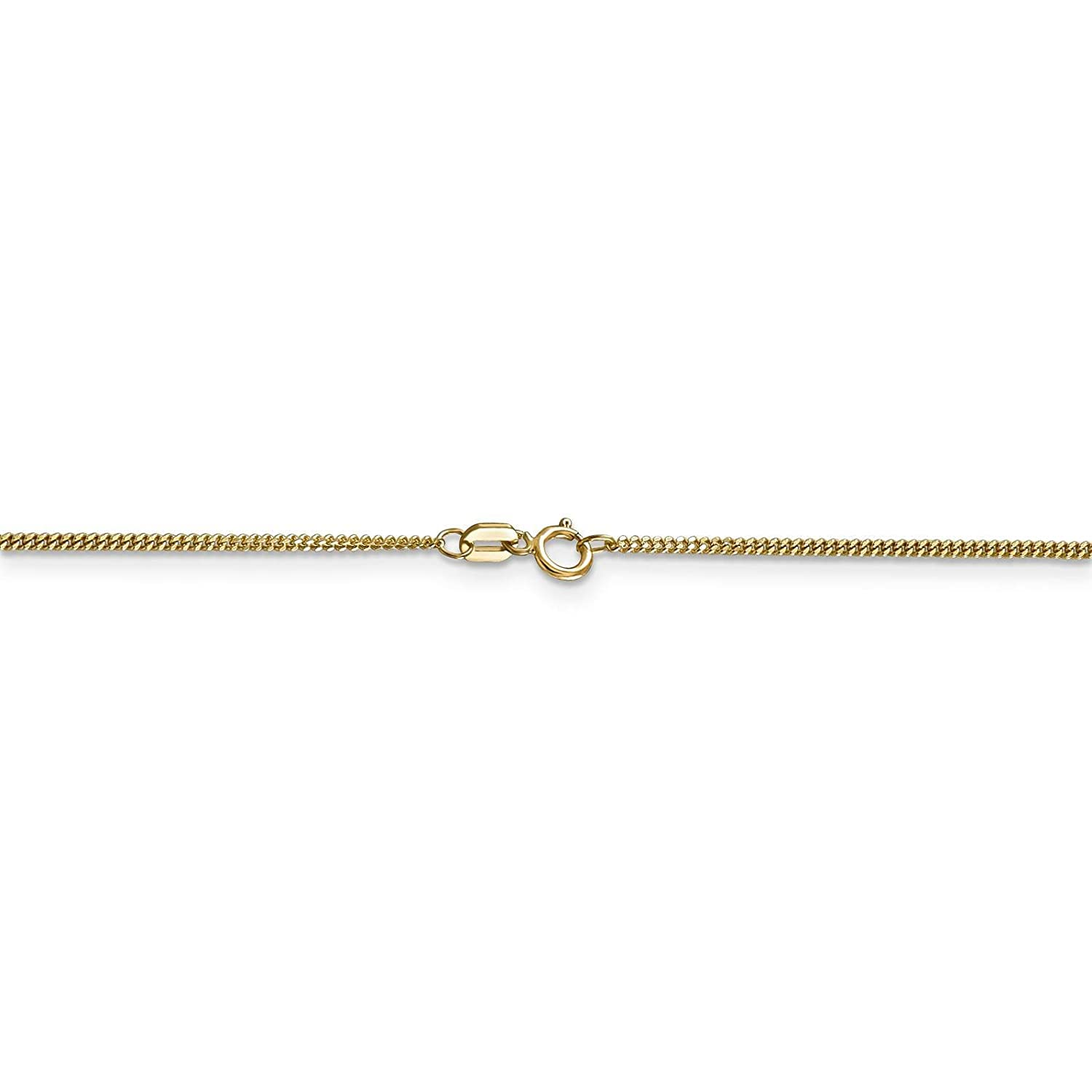 14k Yellow Gold 1.30mm Polished Curb Link Pendant Chain Necklace 16-24