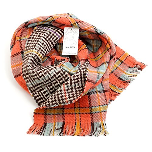 Women's Cozy Tartan Scarf Wrap Shawl Neck Stole Warm Plaid Checked Pashmina (Orang) by Neal LINK (Image #3)