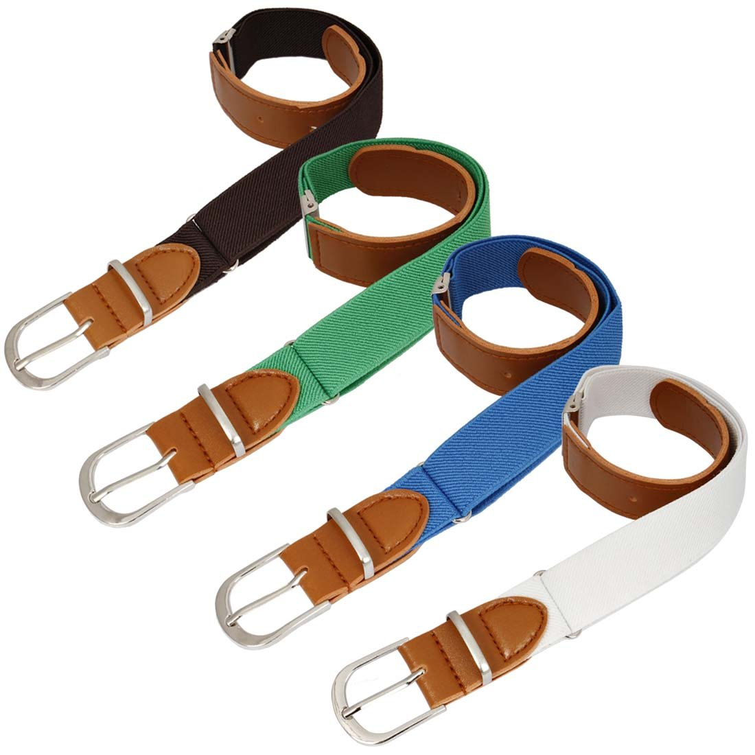 BMC Boys 4pc Solid Colored Adjustable Elastic Band With Leather Loop Belt Set