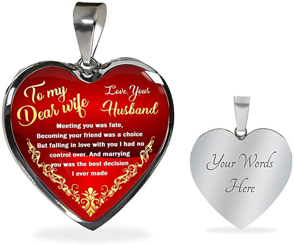 To My Wife Gold//Silver Plate Pendant Necklace from Husband Birthday Gift for Her
