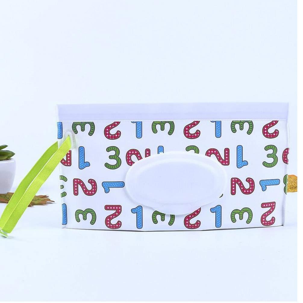 Gamloious Lingettes humides lingettes pour b/éb/é Cartoon Portable Sac de Rangement r/éutilisable Humide Couverture Conteneur pour Lingettes humides pour b/éb/é Soins de la Peau lingettes Voyage Bleu Sac