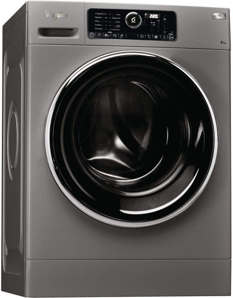 Whirlpool FSCR80422S Independiente Carga frontal 8kg 1400RPM A+++-10% Plata - Lavadora (Independiente, Carga frontal, Plata, Botones, Giratorio, Izquierda, Negro)