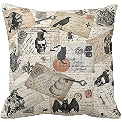 Challyhope Vintage Vogue Throw Pillow Cases Linen Sofa Cushion Cover Home Decor (B | Skull& Bat)