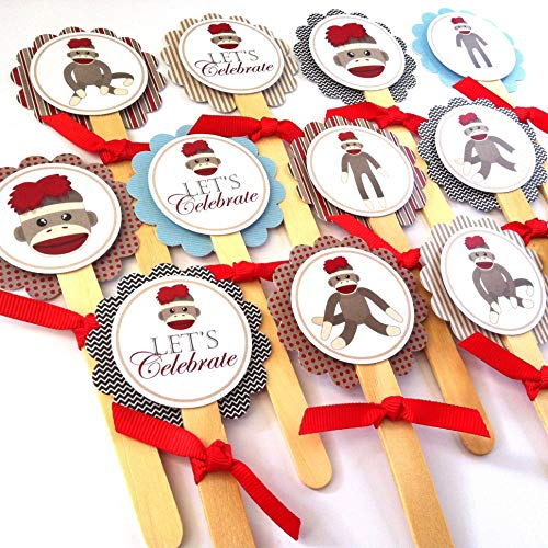 Sock Monkey Cupcake Toppers - Children Birthday Baby Shower Party - Set of 12 -