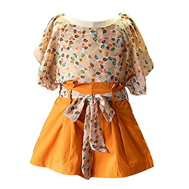 dc86db5a7e6 YUAN Toddler Baby Girl Kids Clothes Floral Chiffon T Shirt Tops Shorts  Pants Set Yellow Outfit for 0-5 Years Old Kids Long Sleeve Outfits   Amazon.co.uk  ...