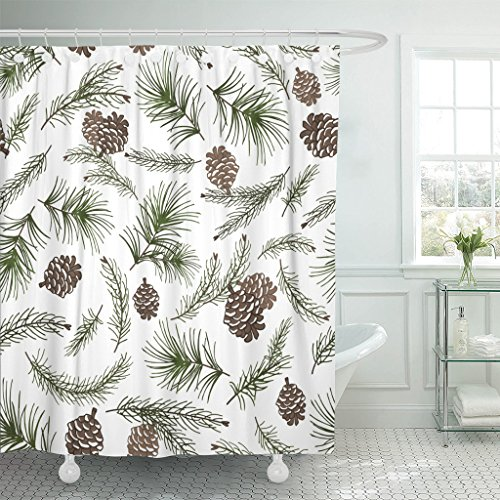 Emvency Shower Curtain Christmas Tree Green Branches Pine Cone in Fir Spruce Waterproof Polyester Fabric 60 x 72 inches Set with Hooks (Pine Cone Fabric Shower Curtain)