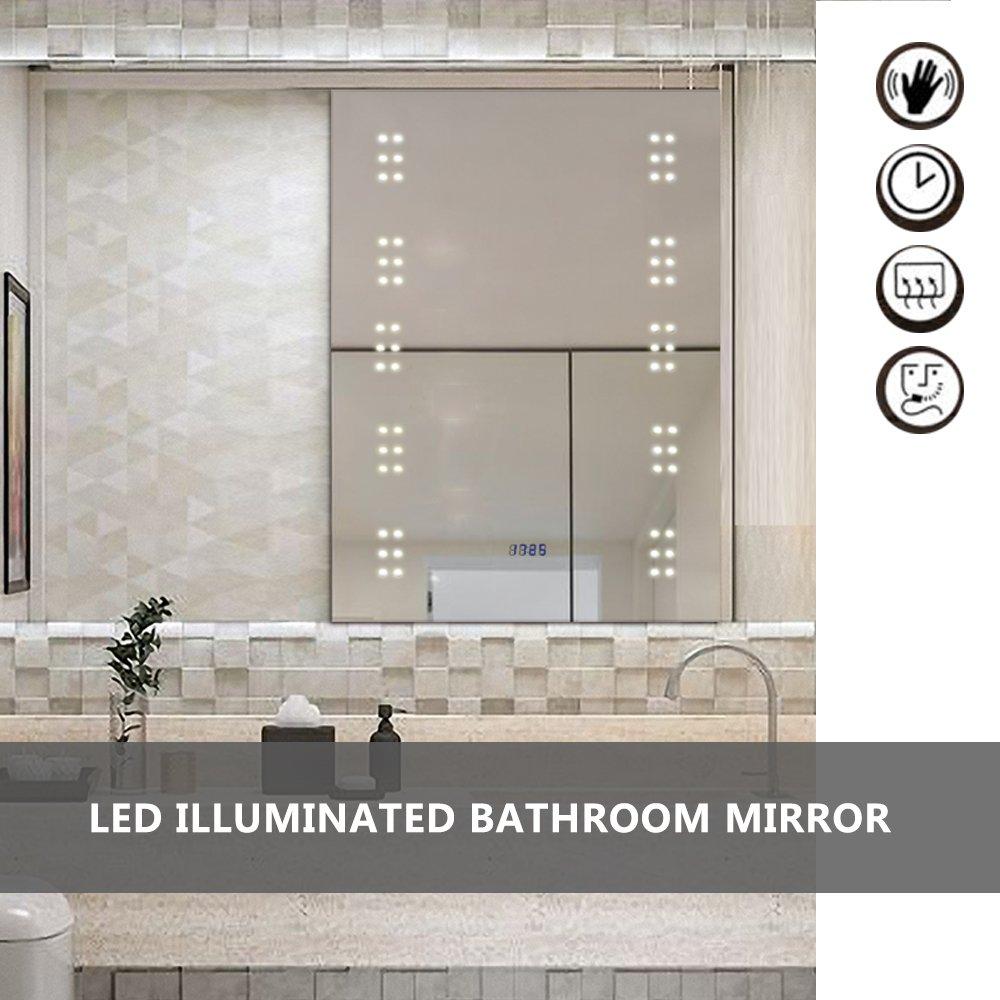 Anaelle Pandamoto Armoire de Toilette avec Lumineux LED et Horloge sur Salle de Bain - Taille: 500*700mm - Poids: 7kg