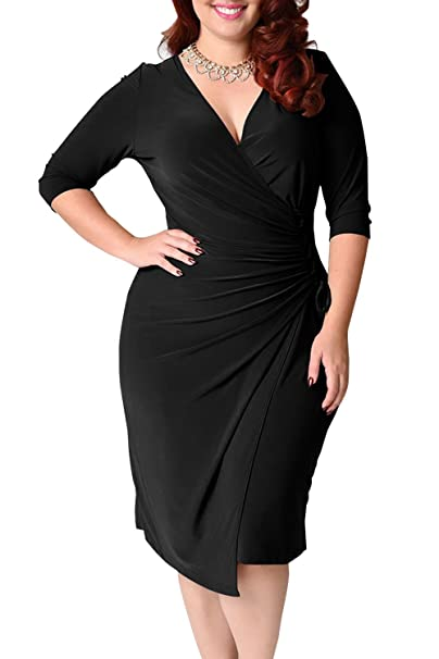 34ed22c092 Women 3 4 Sleeve V Neck Wrap Midi Bodycon Pencil Office Dress Plus Size  Black