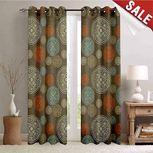 Oriental, Window Curtain Fabric, Arabian Boho Circular Motifs with Flowers and Swirls Earth Tones Moroccan Image, Drapes for Living Room, W96 x L108 Inch Multicolor