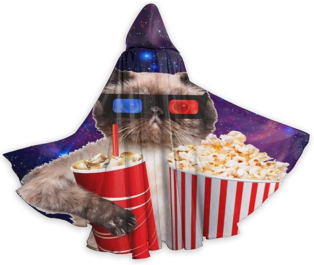 Capa para Adultos Gato con Palomitas de maíz y Bebida Mirando la película Capa con Capucha Capa para la Fiesta de Navidad de Halloween Disfraces de Cosplay Capas de Brujas para Hombres