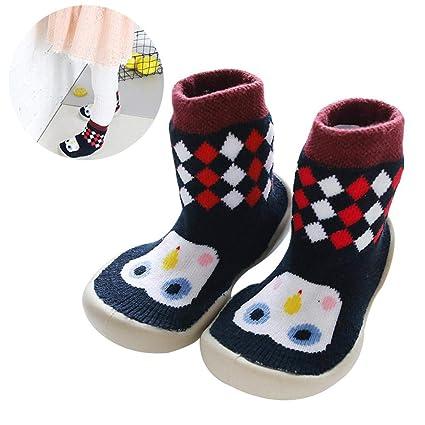 Zapatillas antideslizantes para bebé, zapatos de piso de interior, calcetines, botas, dibujos
