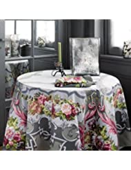 BEAUVILLE French Luxury Gray ARNE Satin Cotton Tablecloth The Millenium Tablecloth 67inch X 106inch