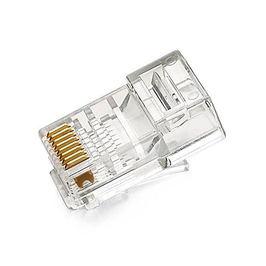 Placcato in Oro 24K per Cat 5e e Cat 5 Ethernet Network. RJ45 Connettori Ethernet Connettore Cavo Ethernet RJ45 LAN 8P8C STP UGREEN 10 Pezzi Plug Connettori di Rete Cat5