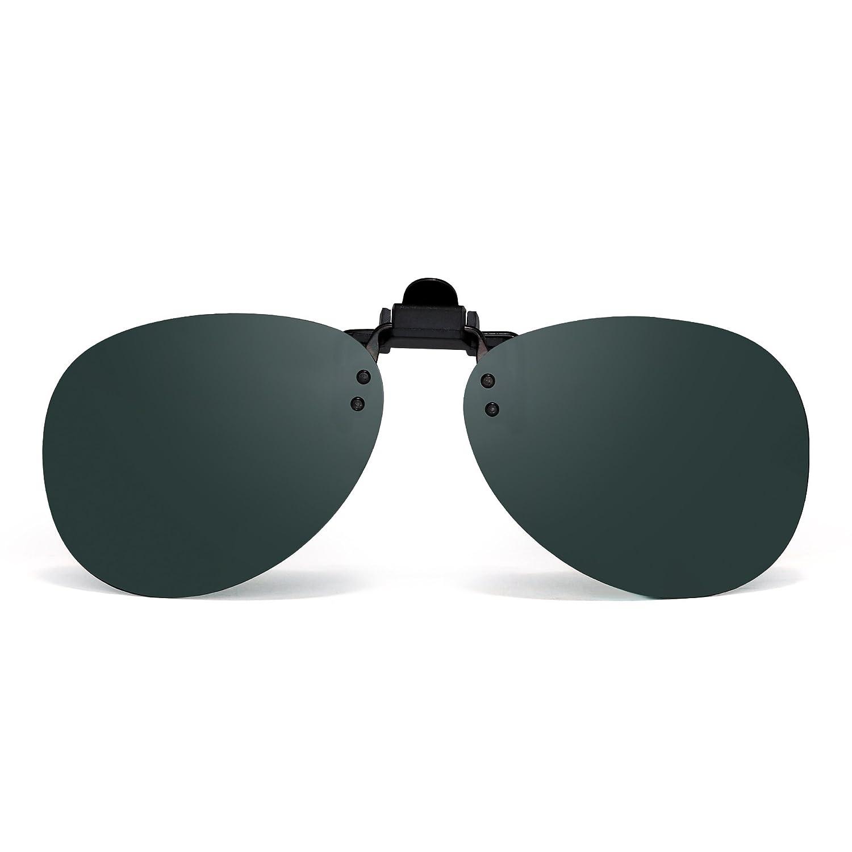 Retro Clip en Sin Marco Aviador Gafas de Sol Polarizadas Lentes de Flip up Anteojos Hombre