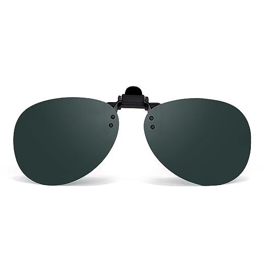 ea006cdc573 Retro Clip on Rimless Aviator Sunglasses Polarized Flip up Lenses Eyeglasses  Men (Polarized Green)