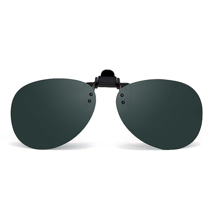 d172bc707d6 Retro Clip on Rimless Sunglasses Polarized Flip up Lenses Eyeglasses Men (Polarized  Green)  Amazon.co.uk  Clothing