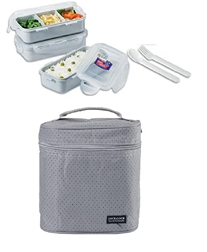 Lock & Lock Rectangular Lunch Box Gray Set with BPA Free Food Containers with Leak Proof Locking Lids with Fork and Spoon