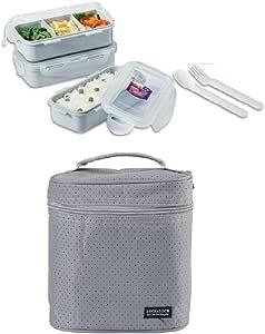 Lock & Lock 3 Pcs Lunch Box Set w/Folk & Spoon, Grey Bag, Grey