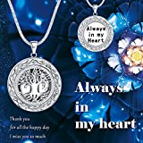 "Tree of Life Cremation Jewelry, "" Always in My Heart "" Carved Keepsake Memorial Urn Locket Necklace, 20"""