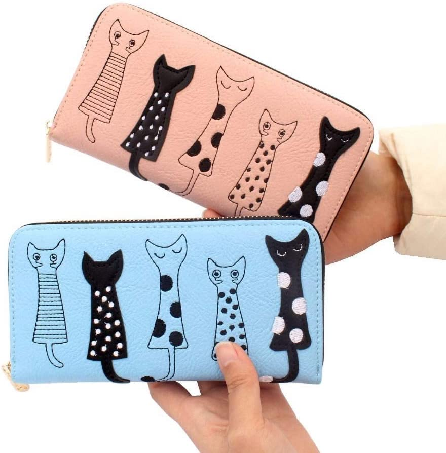 Gimax Coin Purses Color: 7 Ladies Zipper Long Purses for Five Cute cat Cartoon Wallet Leather Card Holder Coin Bag Girls Simple Money Purse Bags