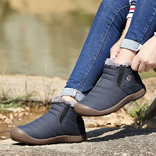 SITAILE Men Women Fur Lined Outdoor Slippers Slip On Ankle Snow Boots Winter Waterproof Lightweight Booties Blue-ankle High lexJBYY