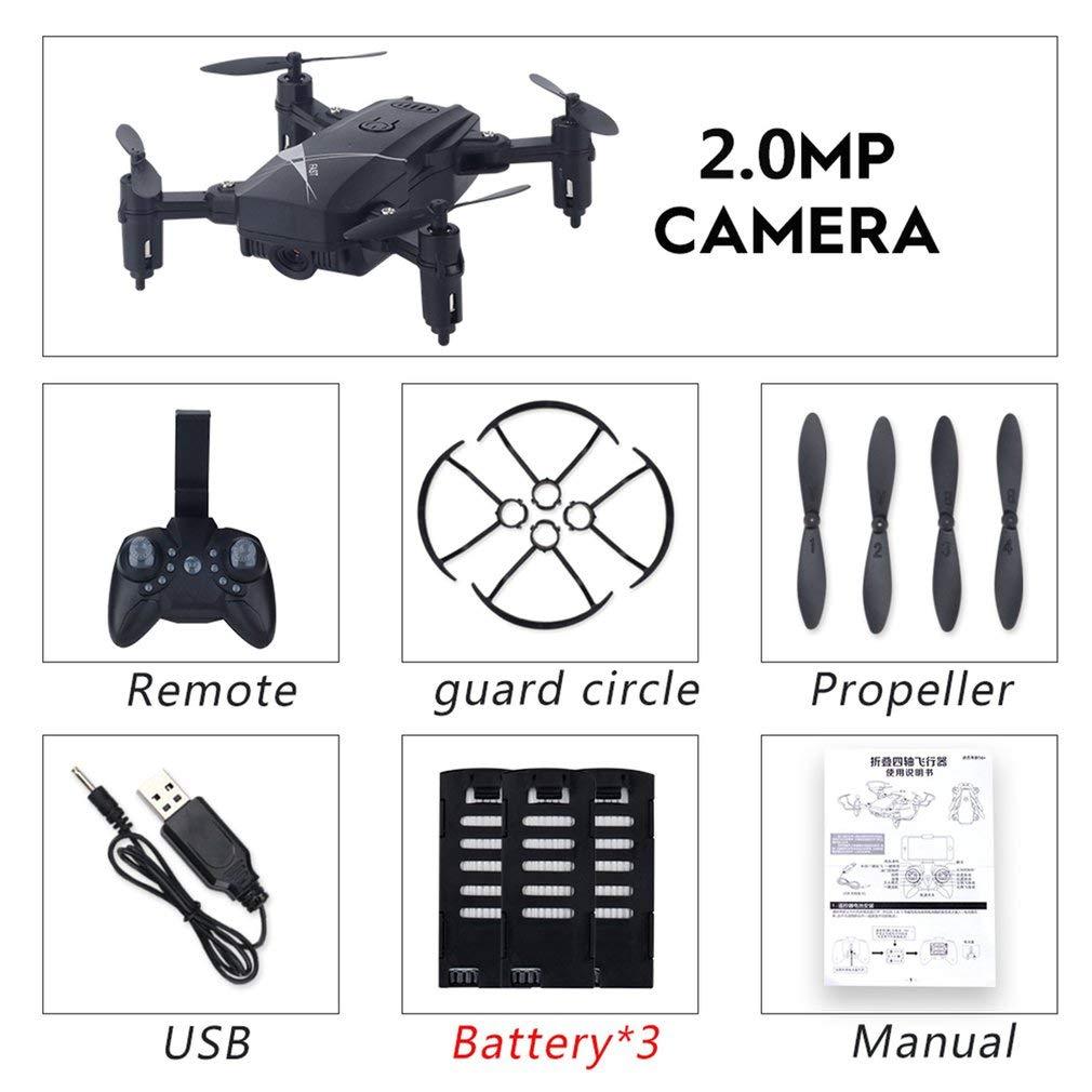 FDBF LF602 Mini FPV Foldable RC Drone with 720P Camera Gesture Selfie 3 Battery nero