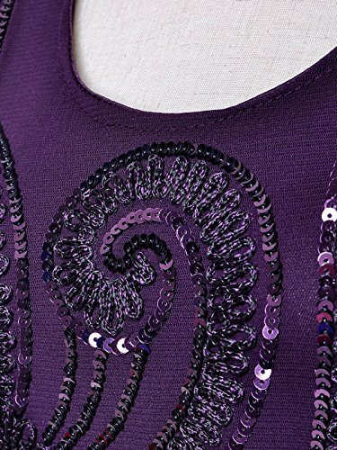 Dress Kaci Sequin Anna Beaded Womens Party Floral Flapper Purple Sleeveless Mini 1920s FqvUqSOxw