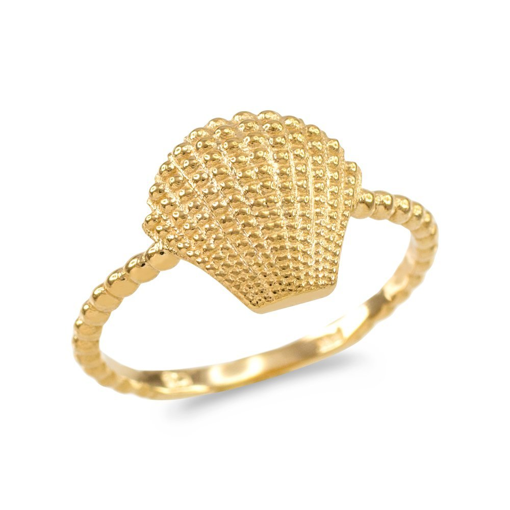 Fine 14k Yellow Gold Seashell Beaded Band Ring (Size 9)
