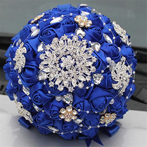 Bridal bouquets for wedding,Wedding Bride Holding Bouquet Roses with Diamond Pearl Ribbon Valentine's Day Confession (Royal Blue)