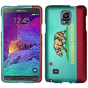 Aqua Mint and Red California Republic Bear Flag Design Protex Snap-On Cover Case + ATOM LED Keychain Light for Samsung Galaxy Note 4