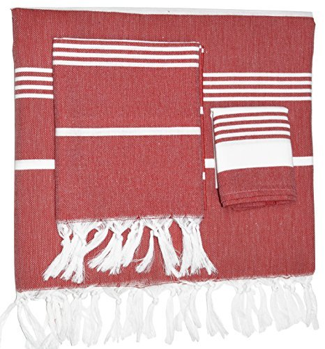 (Nature Is Gift Sale Turkish Cotton Bath Beach Spa Sauna Hammam Yoga Gym Hamam Towel Fouta Peshtemal Pestemal Blanket (White SetRed))