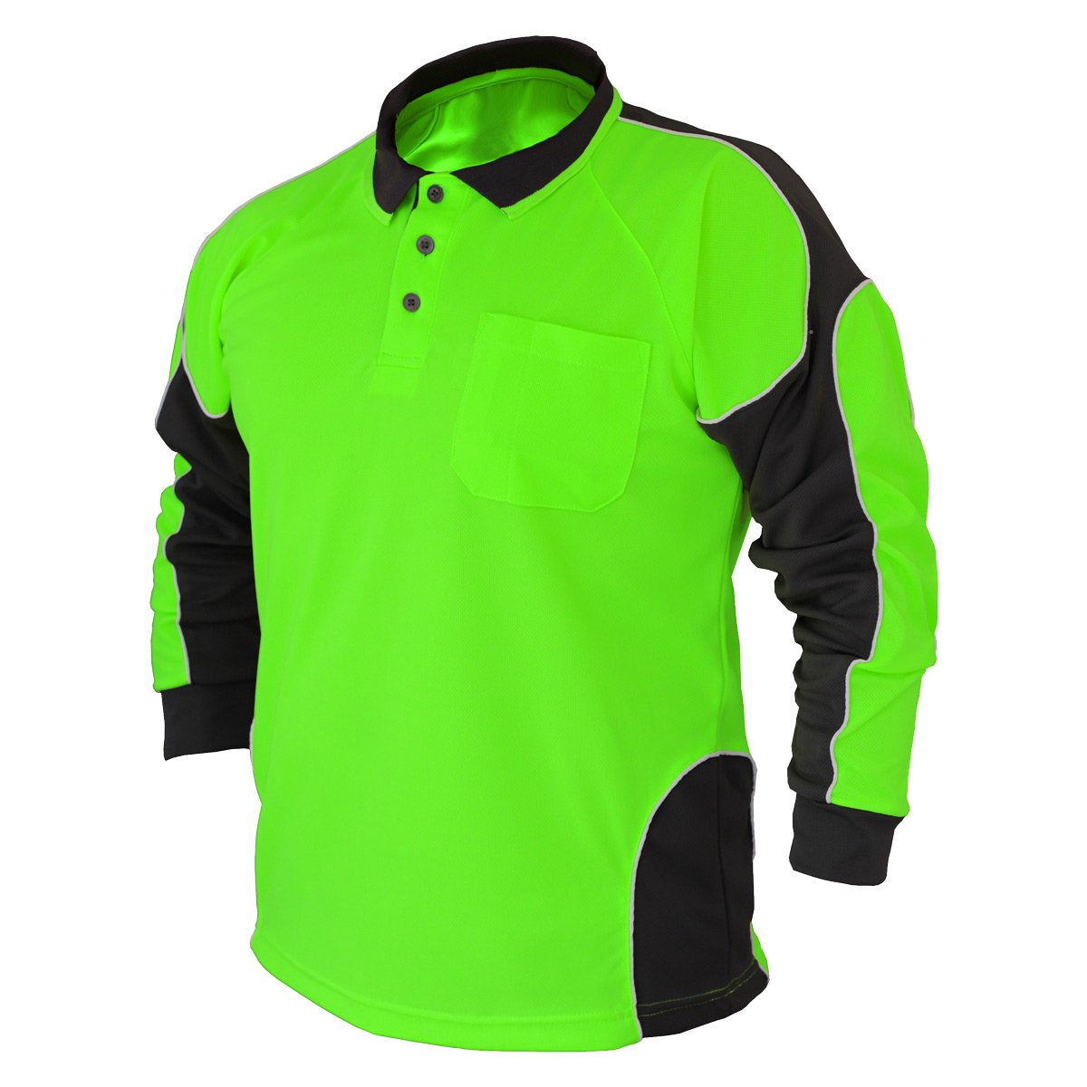 2Pack Hi Vis Polo Shirt Arm Panel With Piing Fluoro Work wear Cool Dry Long Sleeve