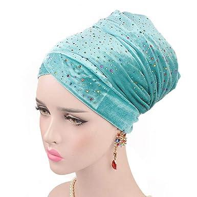 HYIRI Black Head Scarf Hat,Women Starry Velvet Long Tail Turban Cap African