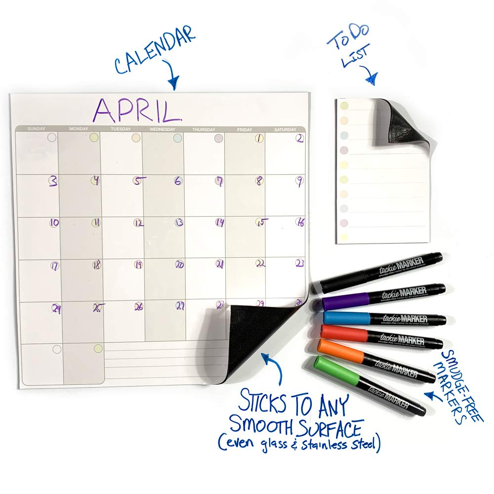 mcSquares Stickies Dry Erase Calendar & to Do List for Fridge - Sticks to Stainless Steel (Any Smooth Surface) - Monthly Whiteboard for Refrigerator, Mirror, Desk, Door, Window. w/ 6 Tackie Markers