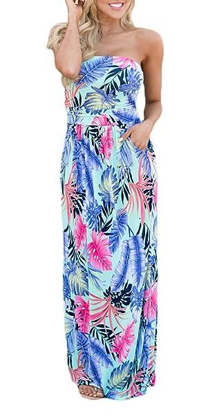 Vestido Largo Verano Mujer Elegantes Vintage Boho Flores Estampado Vestido Playa Sin Mangas Bandeau Hombros Descubiertos