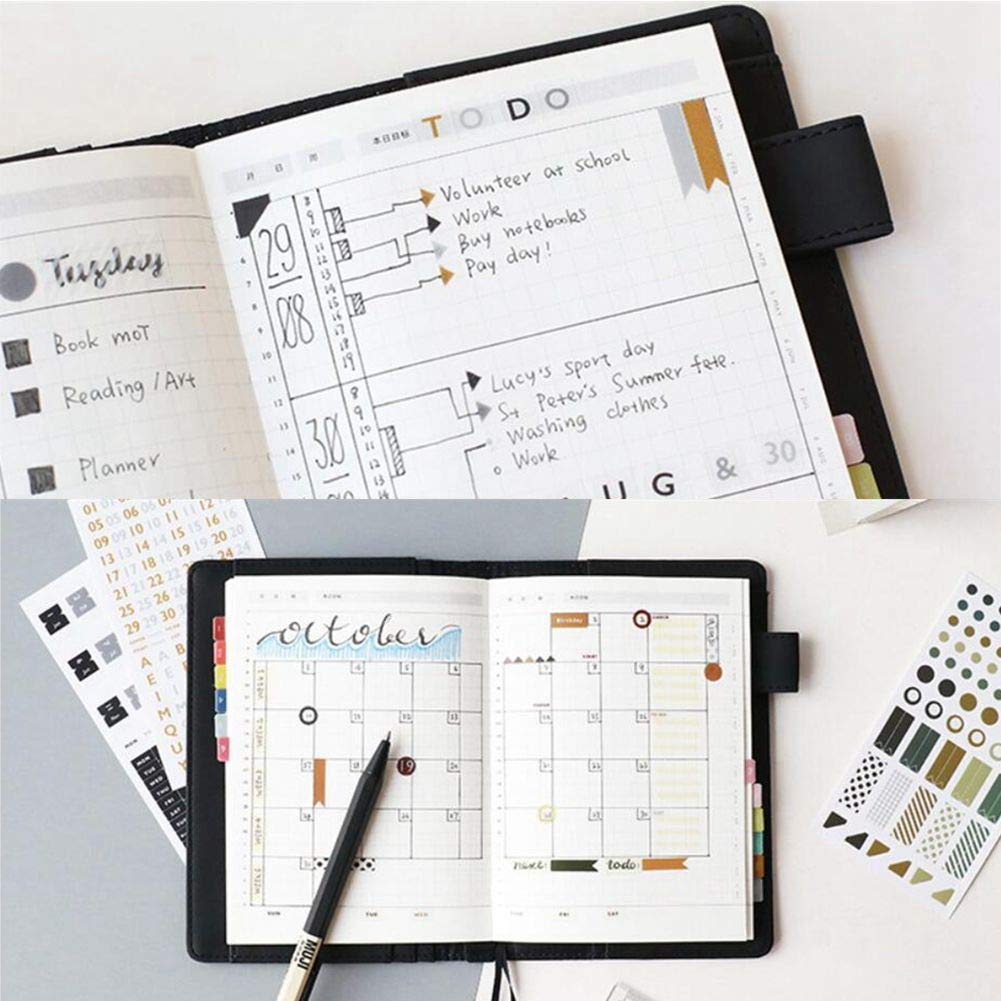 Month Index Stickers, Self Adhesive Weekly Monthly Index Divider Tabs, Decorative Stickers for Planners, Bullet Journal, Notebooks(3 Pcs)