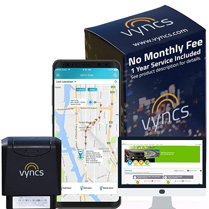 Vyncs GPS Tracker No Monthly Fee OBD, Real Time 3G Car GPS Tracking Trips Free 1 Year Data Plan Teen Unsafe Driving Alert Engine Data Fleet Monitoring Fuel Report Optional Roadside