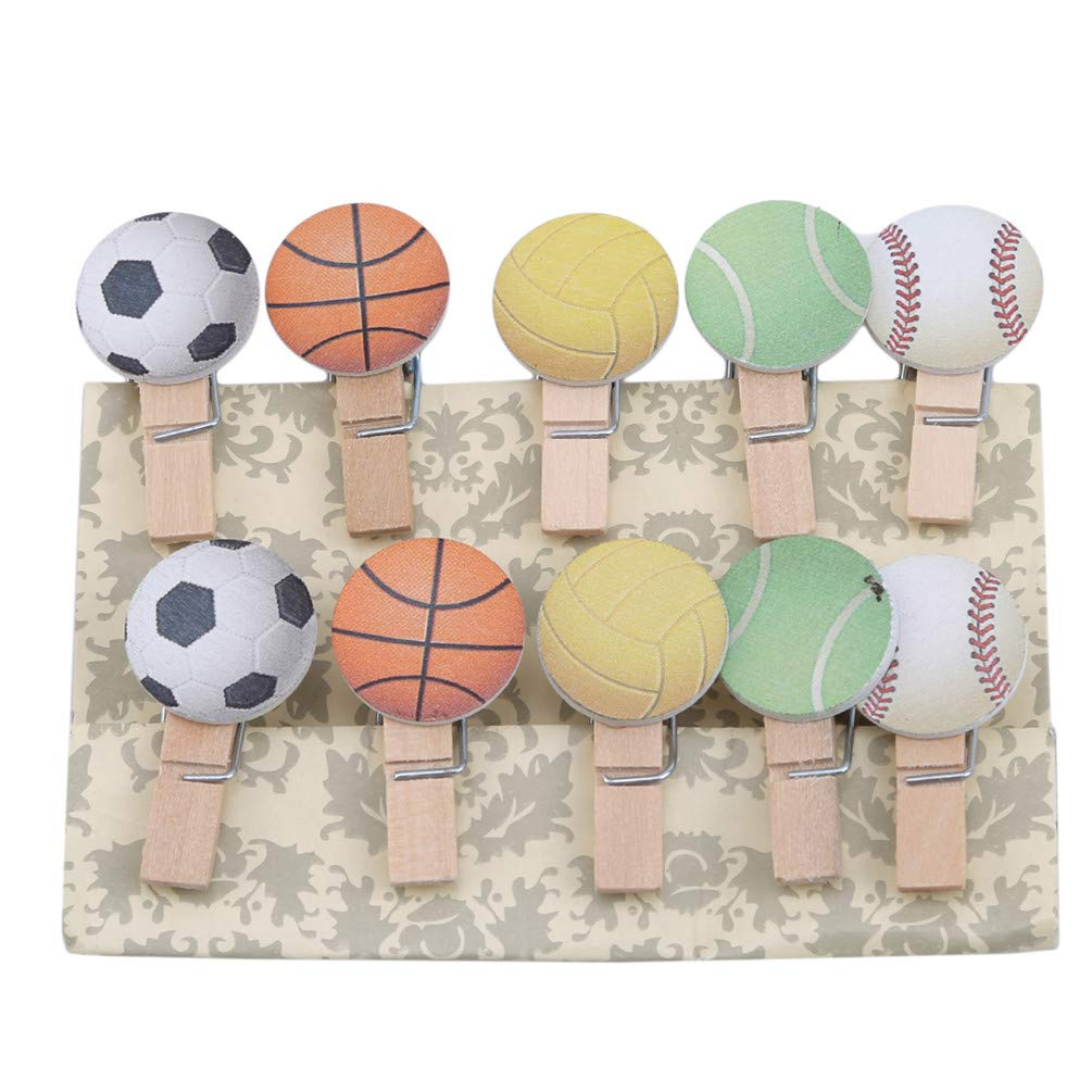LANWF Football Photo Clip Mini Wooden Football Alphabet Series DIY Craft Clips Paper Note Memo Card Holder Craft Clips for Party Decorations,Football Series
