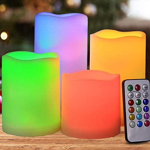 HOME MOST Set of 4 Flickering Flameless LED Pillar Candles with Remote Timer 3×3 3×4 3×5 3×6 Multi Colored – Unscented Battery Operated Outdoor Pillar Candle Waterproof Bulk – Color Changing Candles