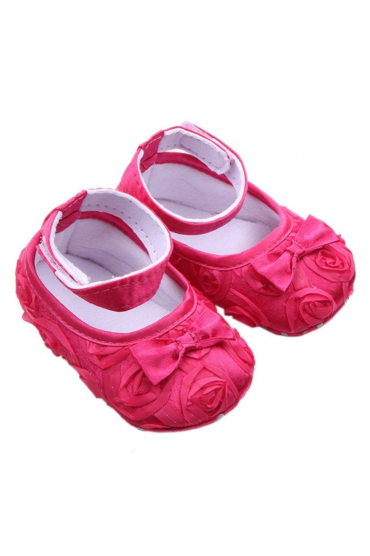 Bebe Chaussures - SODIAL(R) Bebe fille Confortable Antiderapantes Chaussures de princesse pour le tout-petit (0-6 mois, Rouge Rose)