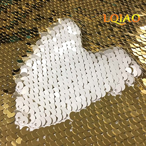 LQIAO Sequin Fabric Flip UP-Light Gold White -Reversible Sequin Fabric Shimmer Sewing Fabric Mermaid Sequins Fabric-Two Tone Sold by the half Yard