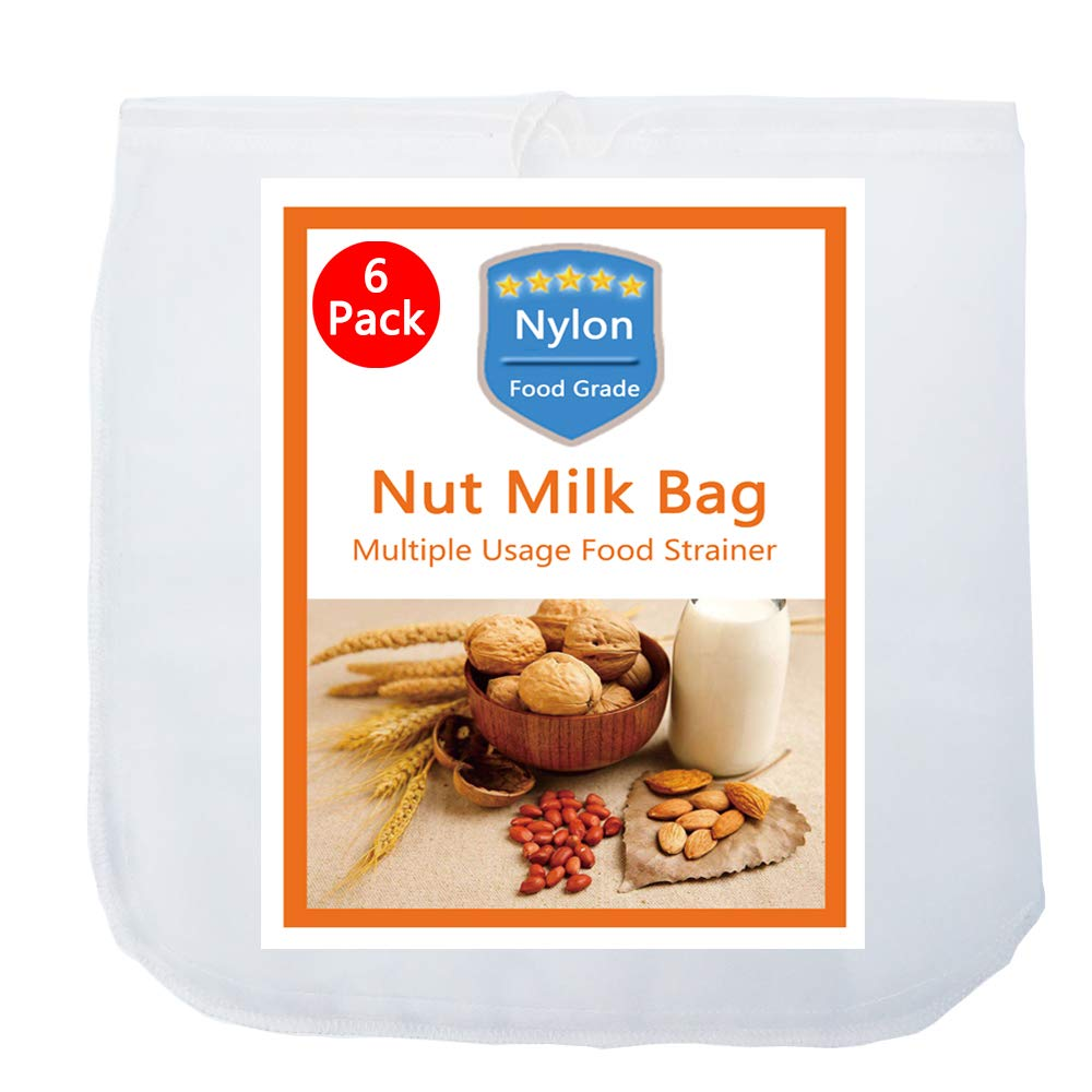 "6 Pack - Nut Milk Bag-(12""x12"") - iAesthete Reusable Food Grade Nylon Mesh Filter Multiple Usage Vegetable Fruit Juice Filter Cold Brew Coffee Filter Tea Filter"