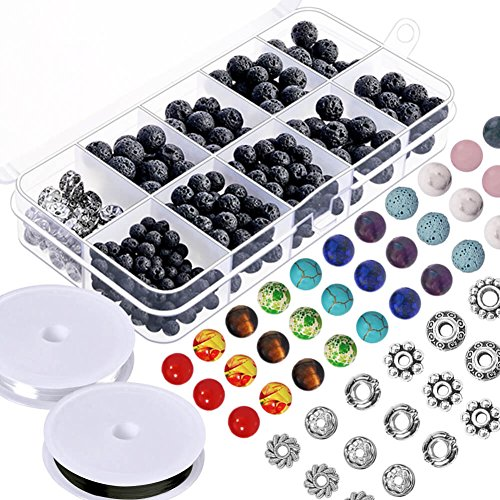 Paxcoo 500pcs Lava Beads Stone Rock with Chakra Beads and Spacer Beads for Essential Oil and Jewelry Making (500pcs)