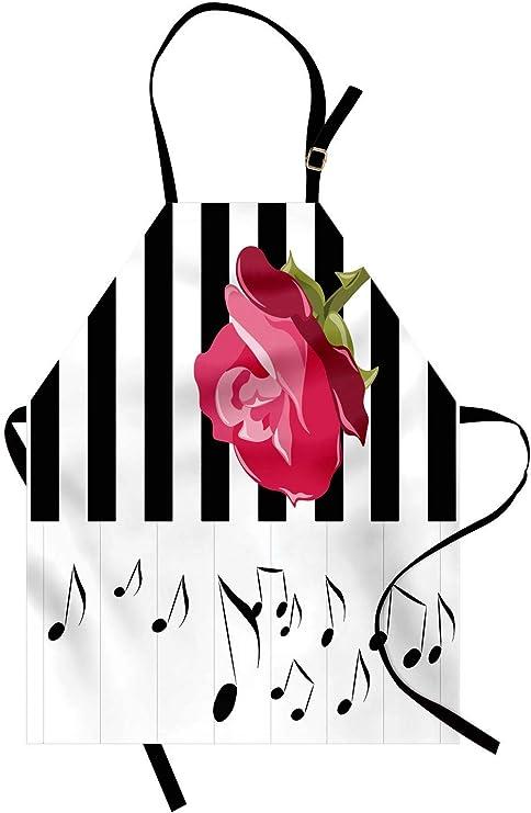 Delantal moderno, rosa roja dibujada a mano en piano con notas ...