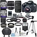 Canon EOS Rebel T6 DSLR Camera with EF-S 18-55mm f/3.5-5.6 IS II Lens, EF 75-300mm f/4-5.6 III Lens, W/ Total of 64 GB, Xpix Table top Tripod, FiberTique Cloth and Deluxe Accessory Bundle from Canon