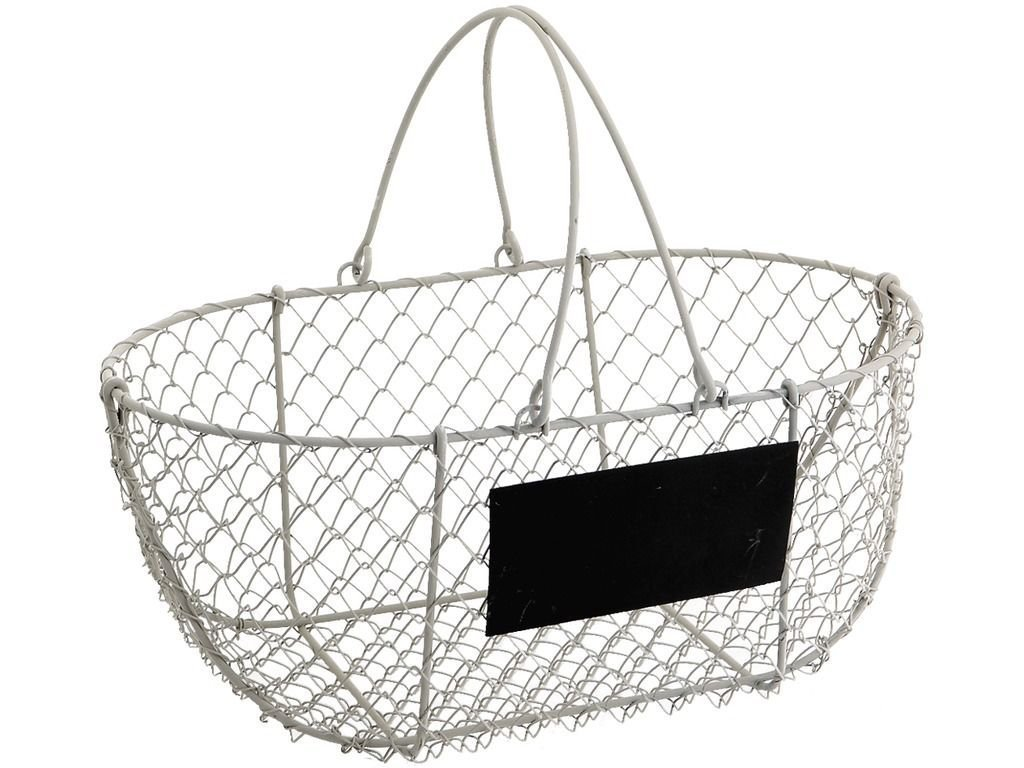 Amazon.com: Vintage Chic Wire Metal Basket Oval Rustic White Garden ...