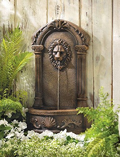 Garden Fountain Lion Statues Waterfall Wall Mounted Sculptures Outdoor Water Pump Ornament Feng Sui Decorative by DecorDuke