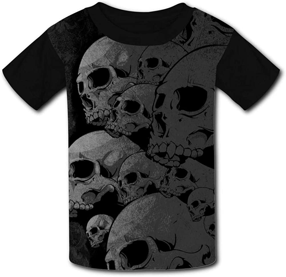Youth 3D Printed Simple Skull Casual T-Shirt Short Sleeve for Kids Creative Graphic Design Summer Tee